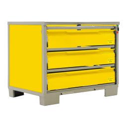 gitterbox feste konstruktion stapelbar mit 3 geschlossen schubladen und w nde. Black Bedroom Furniture Sets. Home Design Ideas